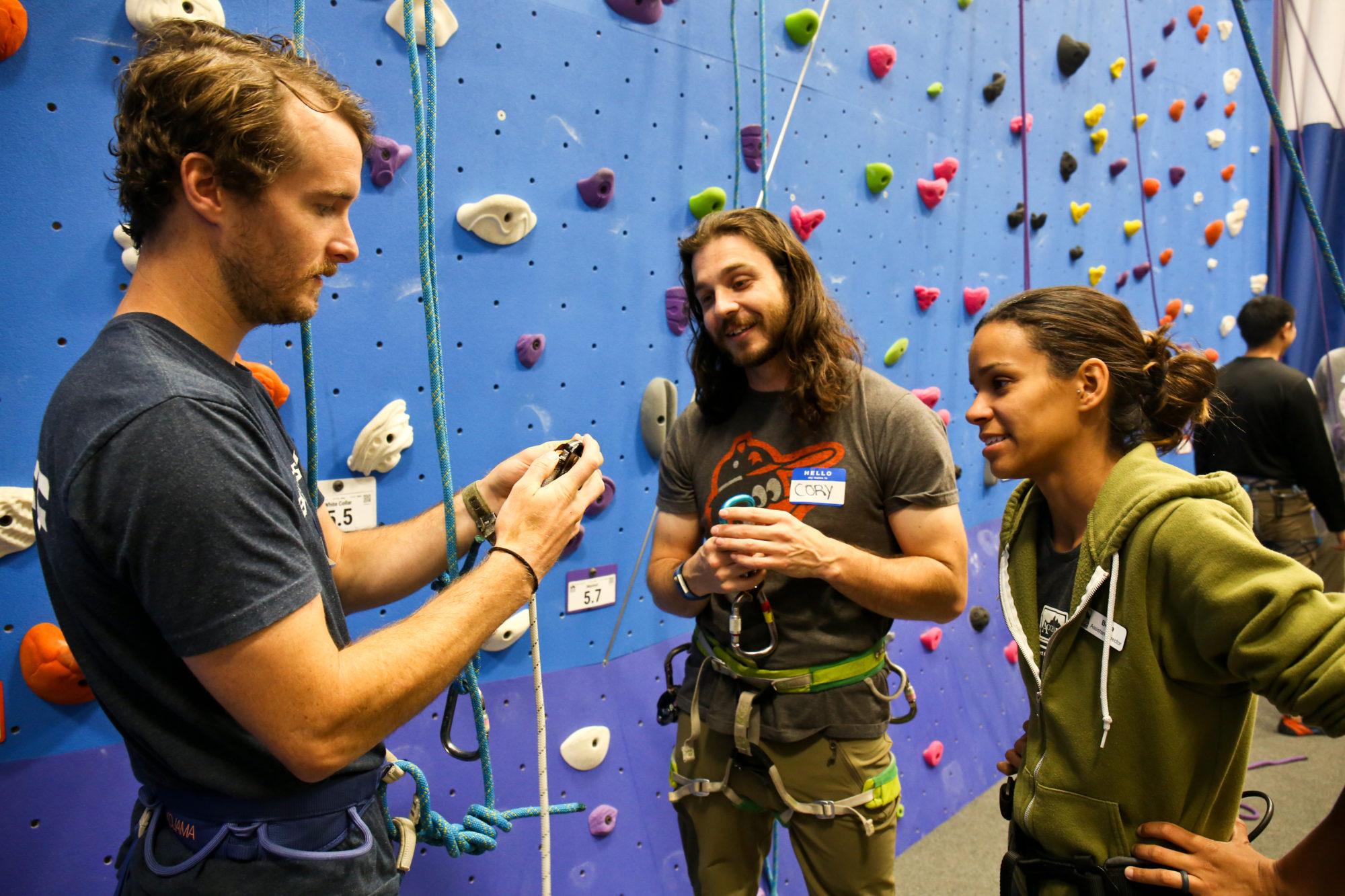 Learning knots at the ACI Course at Earth Treks in Arlington, VA