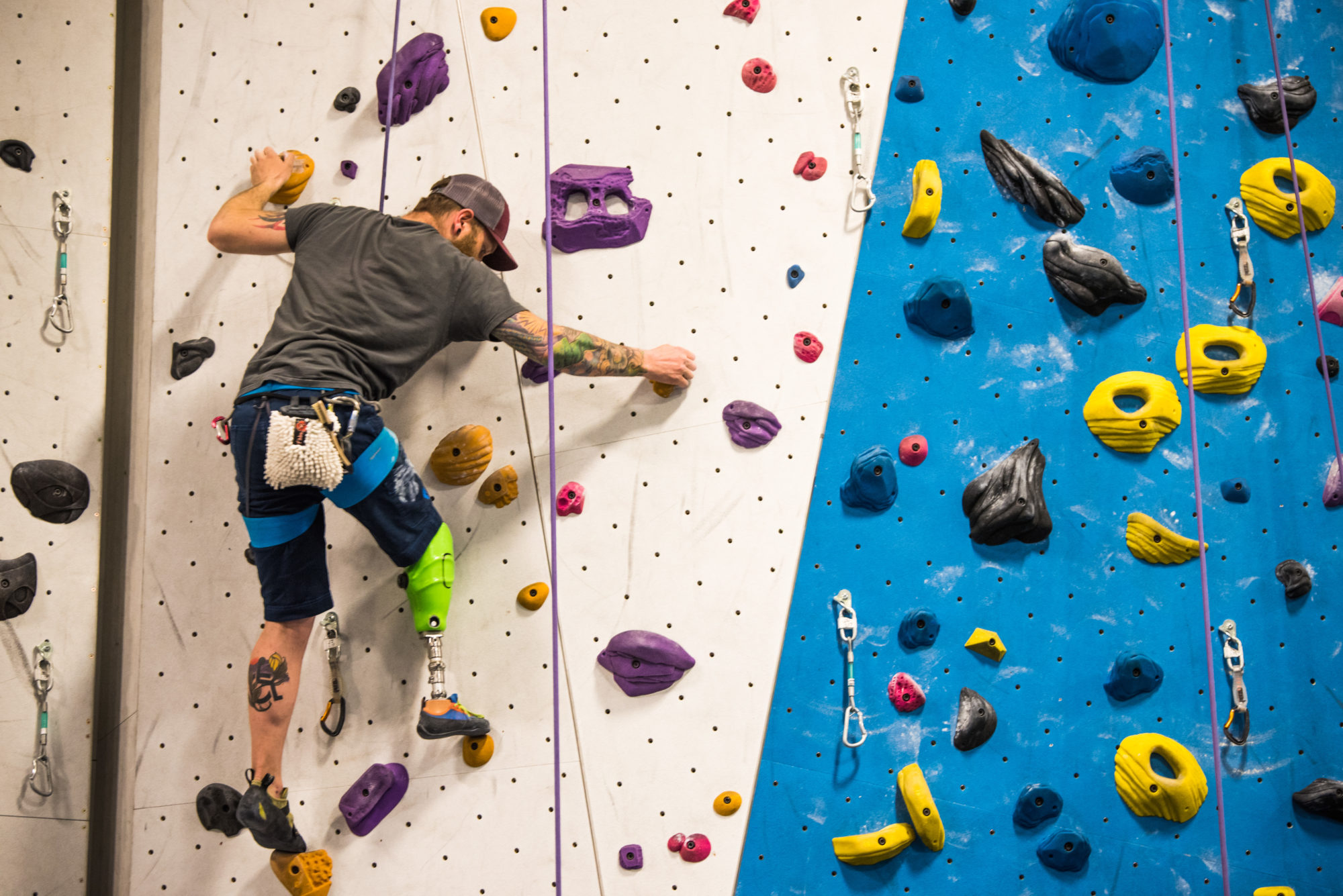 Climber on the wall at Climbing Club at Earth Treks in 2017
