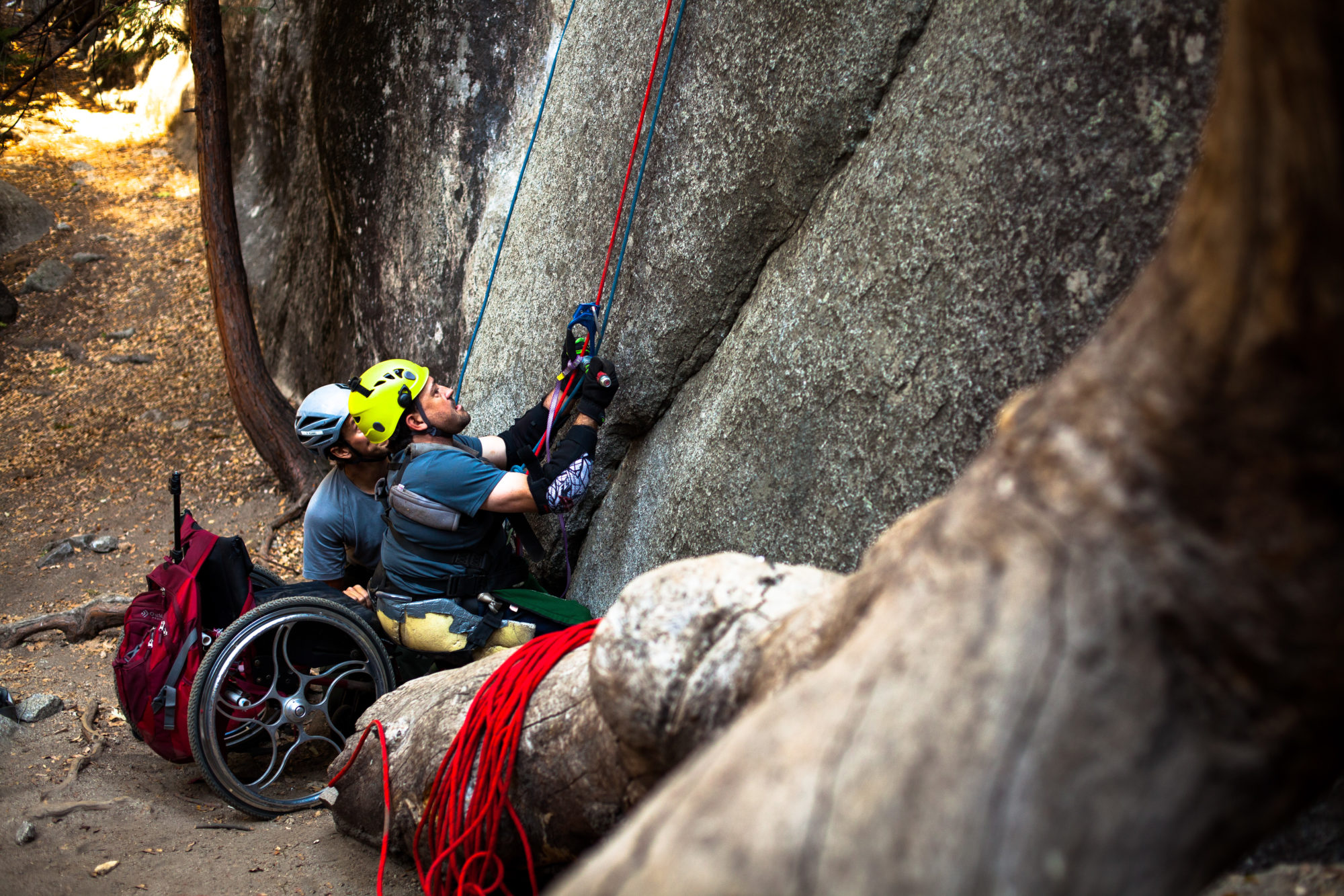 Enock Glidden in his wheelchair about to climb on Yosemite Trip in 2016