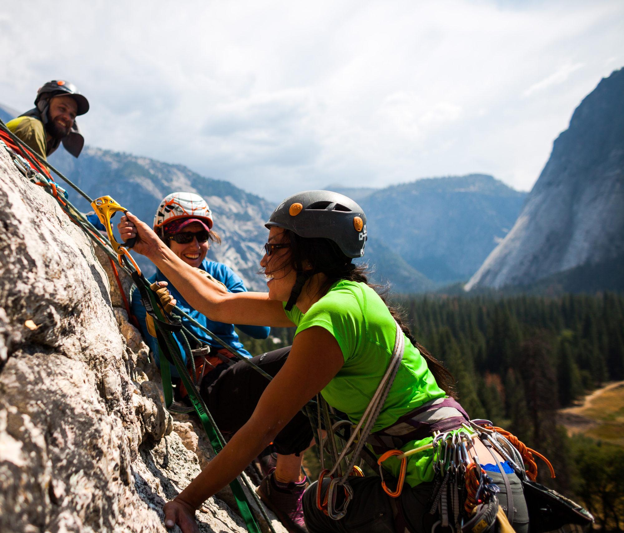 Climbers on the wall on Yosemite Climbing Trip