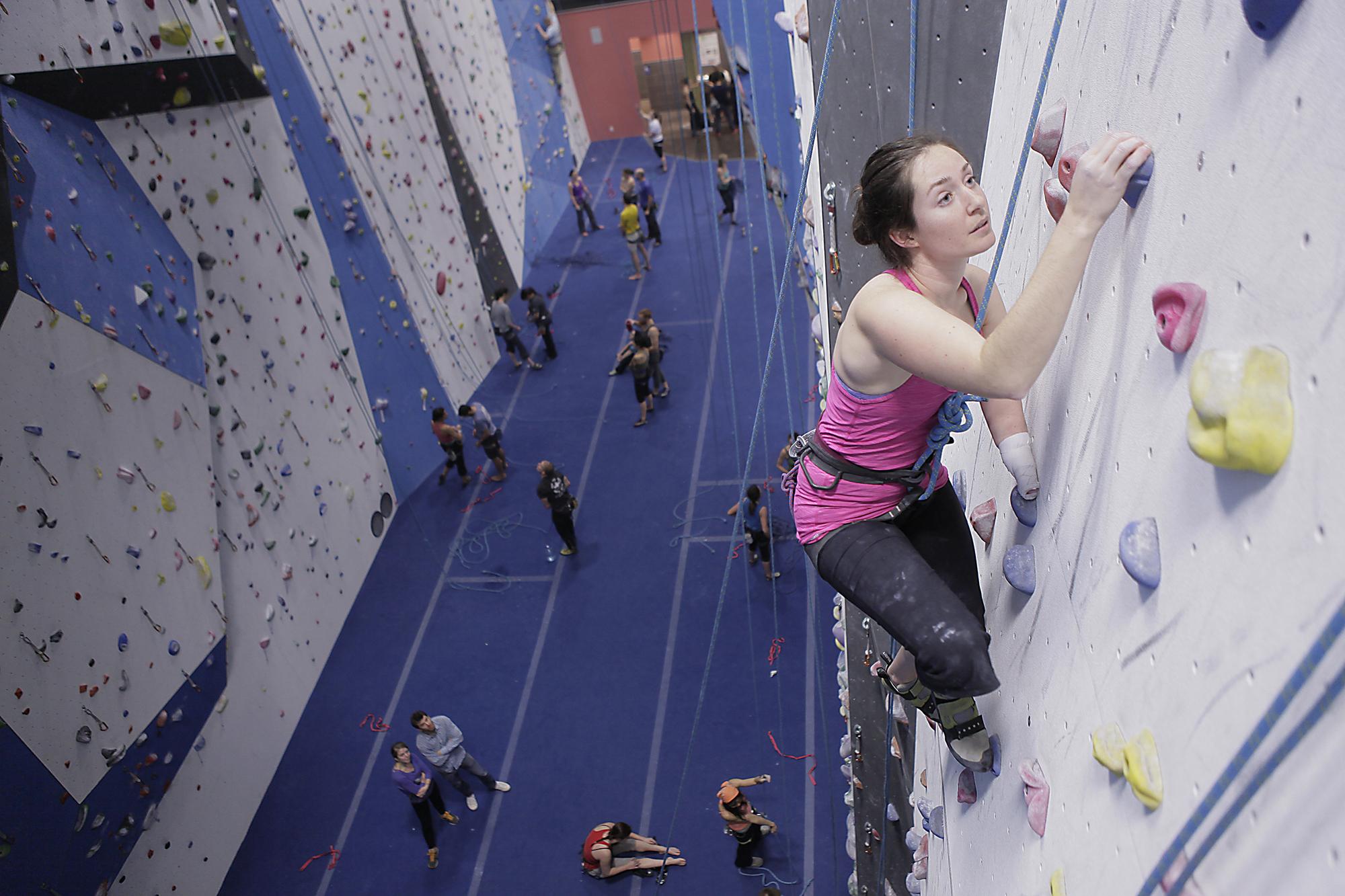 Maureen Beck Climbing at Climbing Club at Earth Treks in Golden, CO