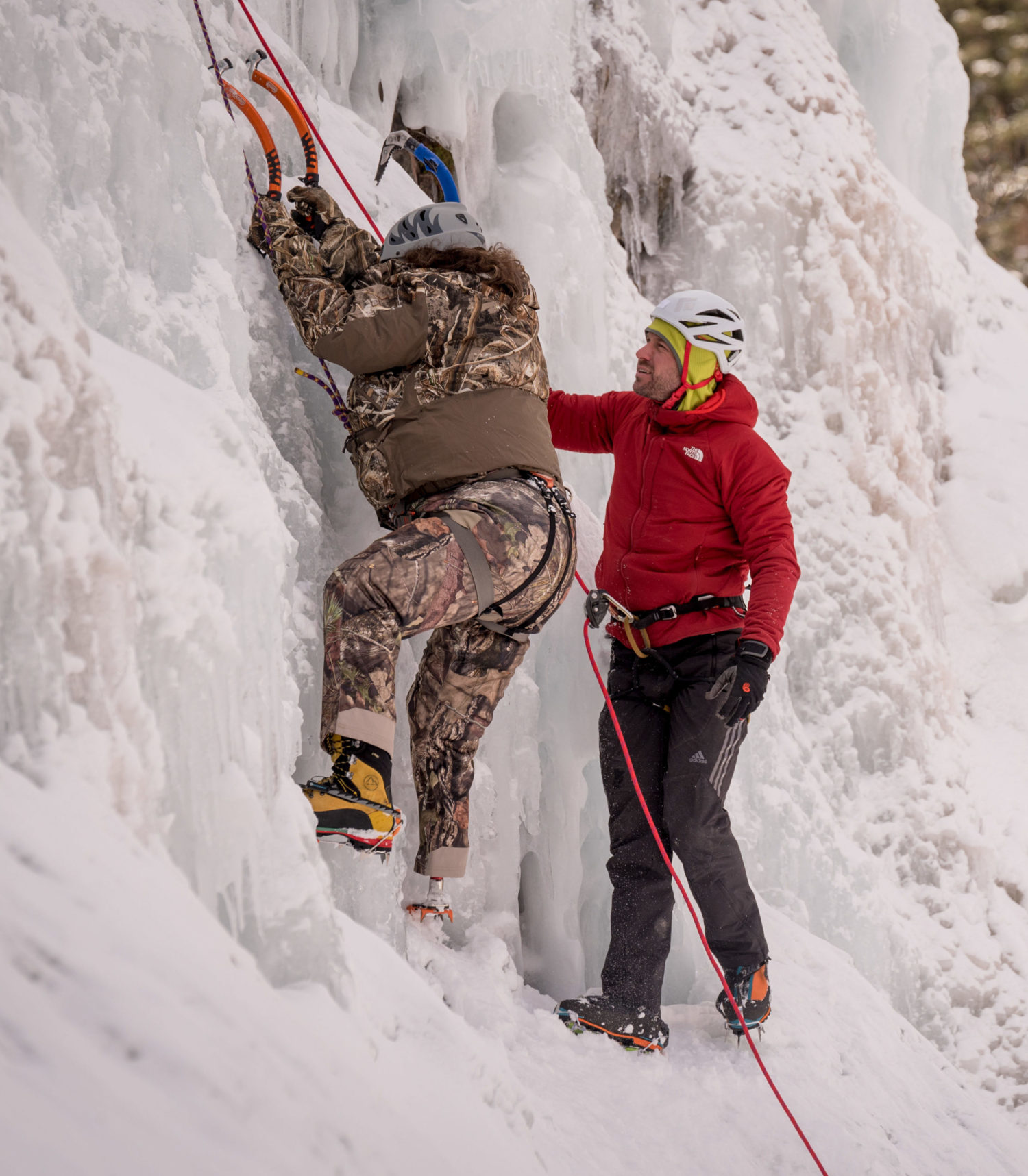 Climber Ice Climbing on Ouray Trip