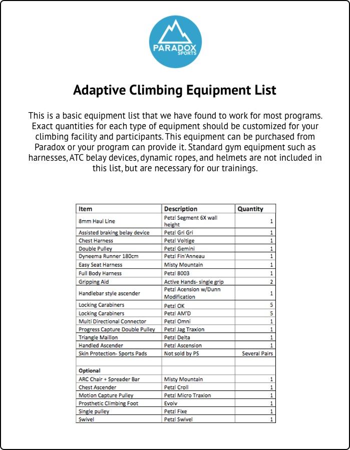 Adaptive Climbing Equipment List Document
