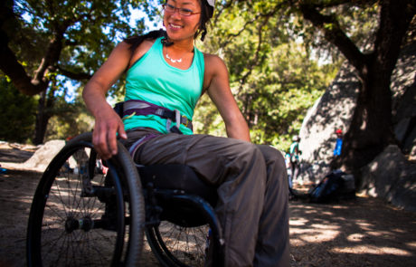 Climber in her wheelchair on Yosemite Trip in 2016