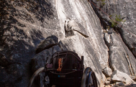 Wheelchair next to crag on Yosemite Trip in 2016