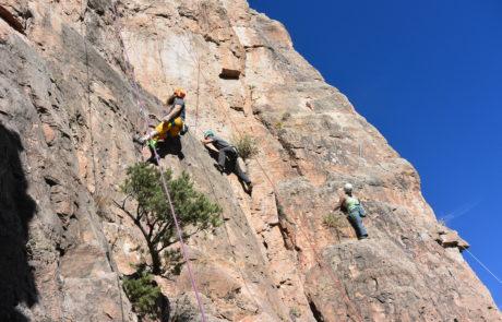 Climbers on wall on Shelf Road Trip