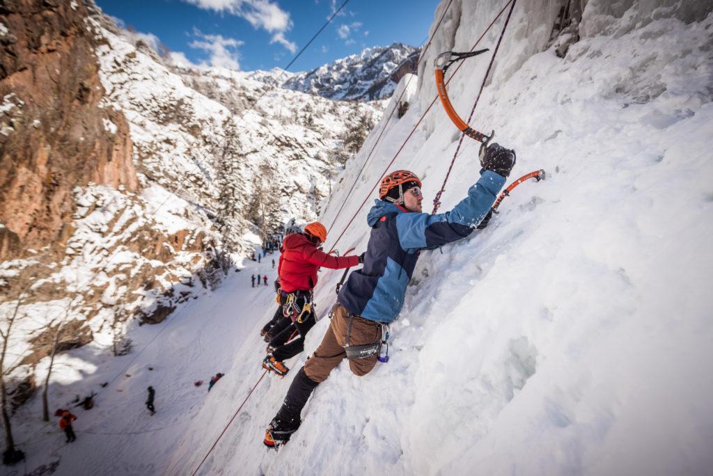 Climbers Ice Climbing on Ouray Trip