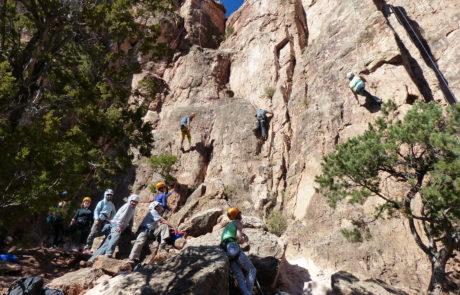 Climbers at Crag on Shelf Road Trip