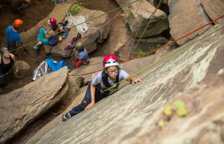 Climber on wall on Red River Gorge Trip