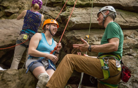 Climbers Chatting at Crag on Red River Gorge Trip